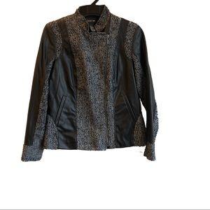 Wool blend jacket gray pleather sz 8